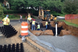 The bioretention project under construction. Credit: Kit Gage, President of Friends of Sligo Creek.